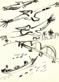 218‐6946<b>pelicans & fishermen, st lous</b>st louisdip pen & indian ink35 x 25 cms‐GregPoole