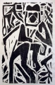 black & white colobus ‐ woodcut ‐ 45 x 33 cms ‐ £60 ‐‐Greg Poole