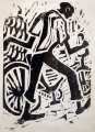 cyclist & bananas ‐ woodcut ‐ 45 x 33 cms ‐ £60 ‐‐Greg Poole