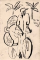 cyclist & bananas ‐ graphite ‐ 28 x 19 cms ‐ £30 ‐‐Greg Poole