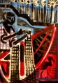 fisherman & hammerkop ‐ monoprint & acrylic ‐ A2 (59.4 x 42 cms) ‐ £170 ‐     ‐GregPoole