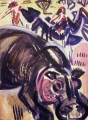 hippo & maribous ‐ acrylic ‐ 76 x 57 cms ‐ £250 ‐‐GregPoole