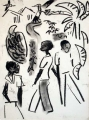 kampala people, maribous & bananas ‐ charcoal ‐ 38 x 28 cm ‐ NFS‐Greg Poole