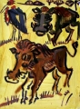 warthogs & maribou ‐ acrylic ‐ 76 x 56 cms ‐ £230 ‐ acrylic painting made sitting next to the warthogs at Queen Elizabeth Park, Uganda.‐Greg Poole