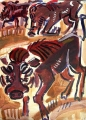warthogs ‐ acrylic ‐ 76 x 56 cms ‐ £230 ‐ acrylic painting made sitting next to the warthogs at Queen Elizabeth Park, Uganda.‐Greg Poole