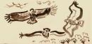 194‐6672<b>griffon vulture</b>extremadura, spaingouache18 x 38 cms£60‐GregPoole