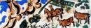 <b>griffon vultures, cattle & horseman</b>   acrylic  27 x 84 cms  £150‐GregPoole