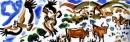 <b>griffon vultures</b>    acrylic  27 x 84 cms  £150‐GregPoole