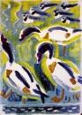shelduck & lapwings ‐ monotype ‐ 54 x 39 cms ‐ £POA‐GregPoole