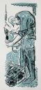 ringing a pochard ‐ screenprint ‐ 57 x 23 cms ‐ £POA ‐‐GregPoole